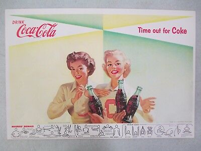 1956 Coca Cola Football Referee Signal Double Sided Advertisement Poster 2 Women
