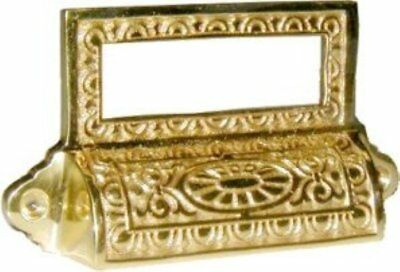 Victorian Style Cast Brass BIN PULL with CARDHOLDER vintage antique retro