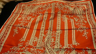 """Red & White paisley style scarf square kerchief  26"""" X 27"""" S130"""
