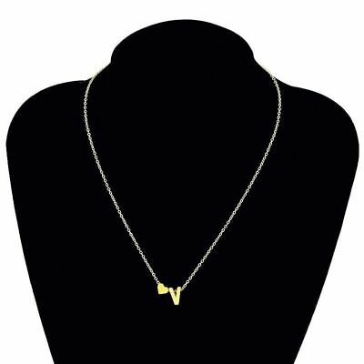 Women Tiny Love Heart Collier Choker Necklace Pendant Lovers Gifts 26 Letters