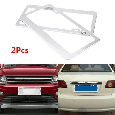 2Pcs American US Car Silver Alloy License Number Plate Frame Cover w/ Screw Caps