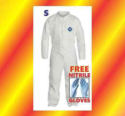 SMALL Protective Coverall Suit 4 Prepper Chemical + FREE Nitrile Gloves Tyvek