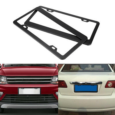 2Pcs American US Car Black Alloy License Number Plate Frame Cover w/ Screw Caps