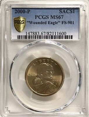 """2000-P Sacagawea """"Wounded Eagle"""" FS-901 PCGS MS67 *RARE COIN*"""