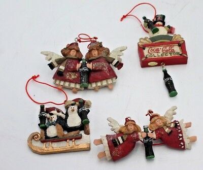 Four (4) Christmas Tree Ornaments Coca Cola Angels Snowmen 1998-1999-2000 Resin