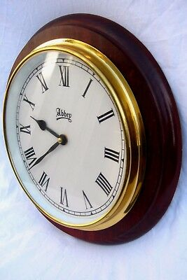 Antique Style Wall Clock Abbey Station Kitchen Lovely Wood Case Quartz Movement