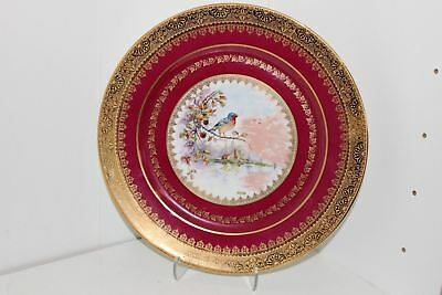 "Vintage Limoges Rue Paradis 11"" Bird Cabinet Plate-Fuschia Red W/gold-France"