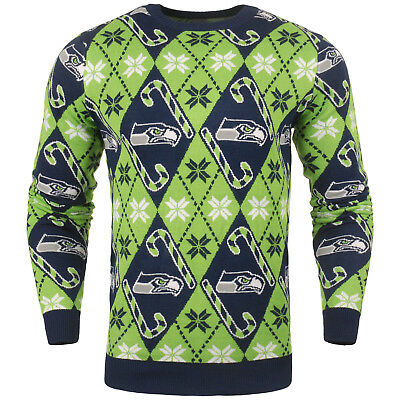 NFL UGLY SEATTLE SEAHAWKS Sweater Pullover Christmas Candy Cane Football