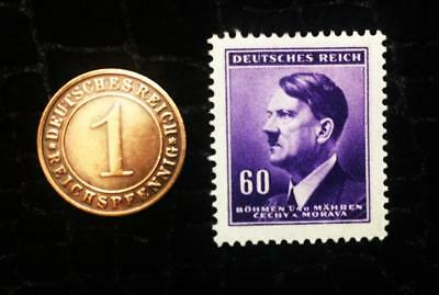 Authentic German WW2 purple Stamp  and Antique German Coin