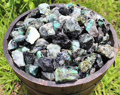 1 lb Lot Rough Unsearched Natural Emerald Minerals, Raw Gemstone Lapidary, 16 oz