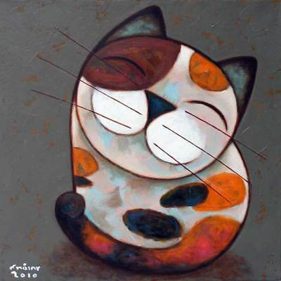 CALICO SMILE Thai Fine ART Naif Cat Painting by Novica
