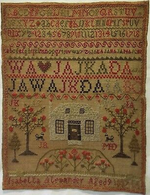 Early 19Th Century House & Alphabet Sampler By Isabella Alexander Aged 9 - 1837