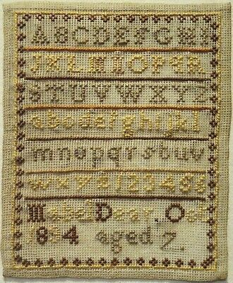 Very Small Late 19Th Century Alphabet Sampler By Mabel Dear Aged 7 - 1894