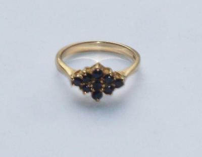 Superb Rare Unusual Antique Vintage Blue Sapphire Marquise Cluster Gold Ring