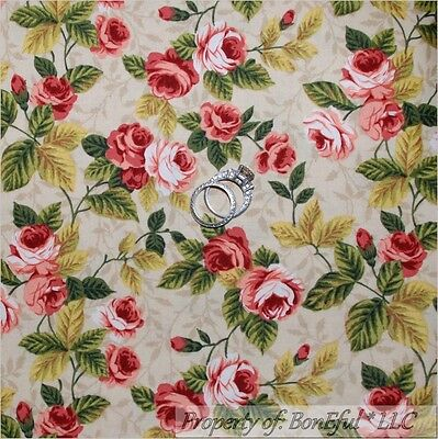 BonEful FABRIC FQ Cotton Quilt Pink Sm Victorian Cottage Rose Flower Shabby Chic
