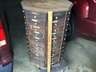 Antique 8 Sided 88 Drawer Store Screw And Bolt Cabinet