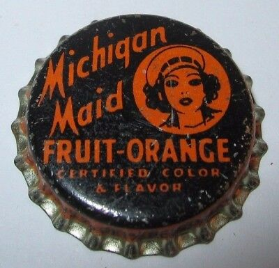 Michigan Maid Fruit Orange Soda Pop Bottle Cap; Muskegon, Mi; Unused Cork