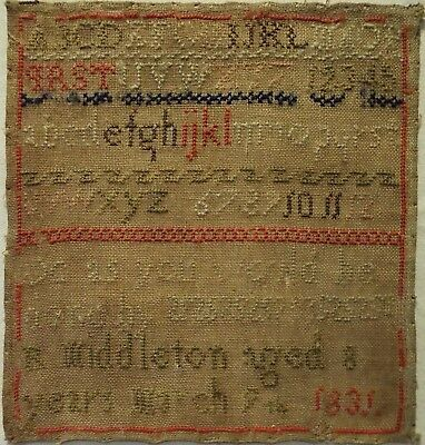Small Early 19Th Century Alphabet Sampler By R.middleton Aged 8 - 1831