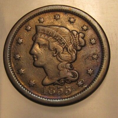 1855 Braided Hair Large Cent Penny - Extra Fine Condition - 120SA