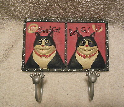 Pier 1 Good Cat Bad Cat Kitty  Paws Hooks Hanger Plaque Very Cute New