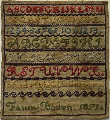 Mid/late 19Th Century Alphabet Sampler By Fanny Boden - 1871