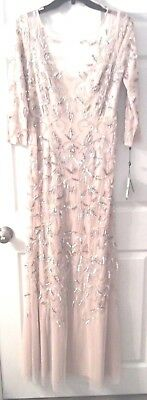 NWT Designer Adrianna Papell Blush  Beaded A-line Gown 8