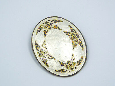 Vintage Siam Sterling Silver Large Oval White & Gold Enamel Brooch Pin Pendant