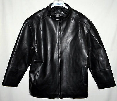 Whispering Smith Black Faux Leather Mens Jacket with Quilted Lining Size M