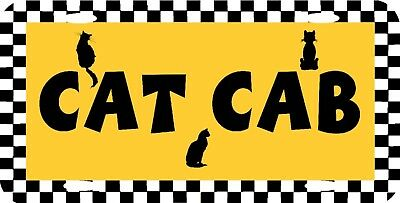 """CAT CAB Feline Kitty Taxi Vanity License Plate 12""""x6"""" NEW HIGH QUALITY METAL"""