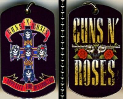 "Guns N Roses Rock N Roll Color Logo Aluminum Dog Tag Necklace w/30"" chain NEW"