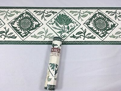 Waverly Wallpaper Border GREEN Branch Leaves Stamp Sunflower Diamond