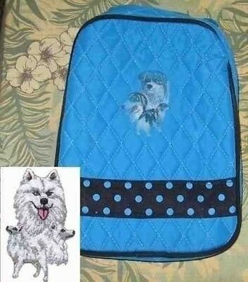 Q lunch SAMOYED Quilted TURQUOISE Insulated Fabric Lunch Sack Tote Bag