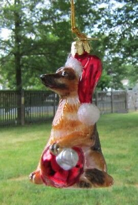 Glass Ornament GERMAN SHEPHERD w/Holiday Bulb Xmas Ornament