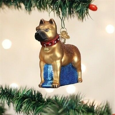 Old World Christmas PITBULL STAFFORDSHIRE Blown Glass Dog Ornament