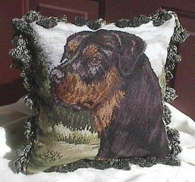 NP pillow Needlepoint ROTTWEILER Fringed Pillow CLEARANCE SALE