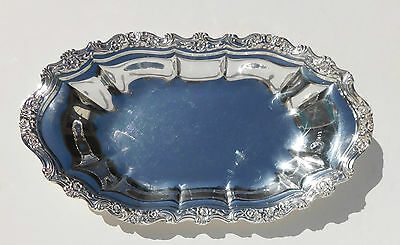 Vintage Silverplate Oblong Serving Dish Hors d'oeuvres Tray Floral Scroll Rim