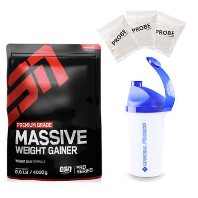 9,13€/kg ESN Massive Mass Weight Gainer 4000g Beutel + Shaker + 3 Proben