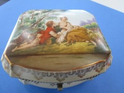 Courting Couple Large Ceramic Hindged Dressing Table Box
