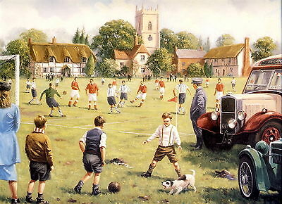 Large Old Vintage WALSH Art Print c19th VILLAGE MATCH Football School Soccer