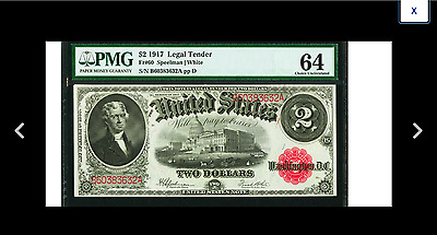 PRICE CUT Speelman / White  Fr60 $2 1917 Legal Tender PMG Choice Uncirculated 64