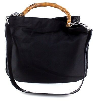 6637152ddf6 Authentic GUCCI Black Nylon   Leather Bamboo Handle 2 way Shoulder Bag Italy