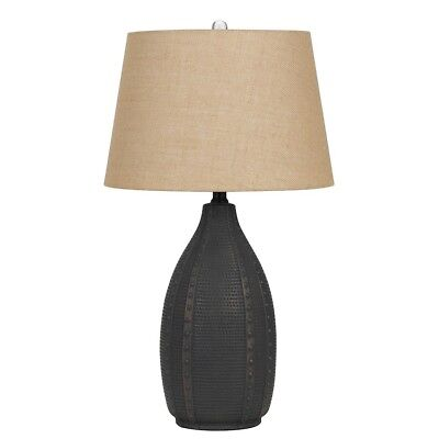 """Cal Lighting Bosque 28.5"""" Height Ceramic Table Lamp, Charcoal - BO-2680TB-2"""