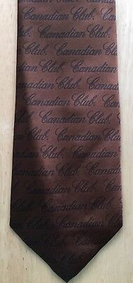Canadian Club Neck Tie Drink Smart Brown / Black Polyester Repeat Design NEW