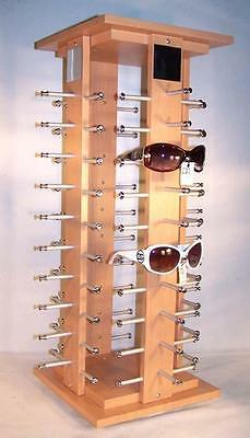 DELUXE WOOD 40 PAIR SUNGLASS SPINNING DISPLAY RACK counter glasses holder new