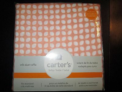 Peach and White Dot Pattern Crib Dust Ruffle by Carter's, NWT