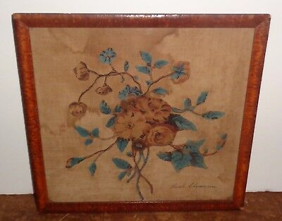 Antique 19th Century Needlepoint Stitch Embroidery Flowers by Sarah Cheeseman