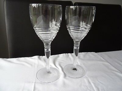 Pair Of Large  Unused Stuart Crystal Strata Goblets By Jasper Conran Boxed