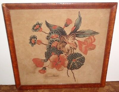 Antique 19th Century Needlepoint Stitch Embroidery Flowers by Theadocia Harwell?