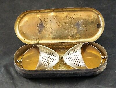 Vintage Safety Sun Glasses Goggles Motorcycle  Steampunk With Original Tin B0X