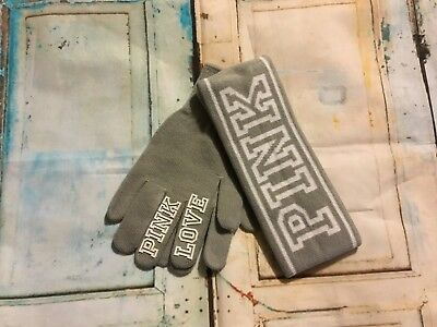 Victoria's Secret PINK headband and gloves grey New